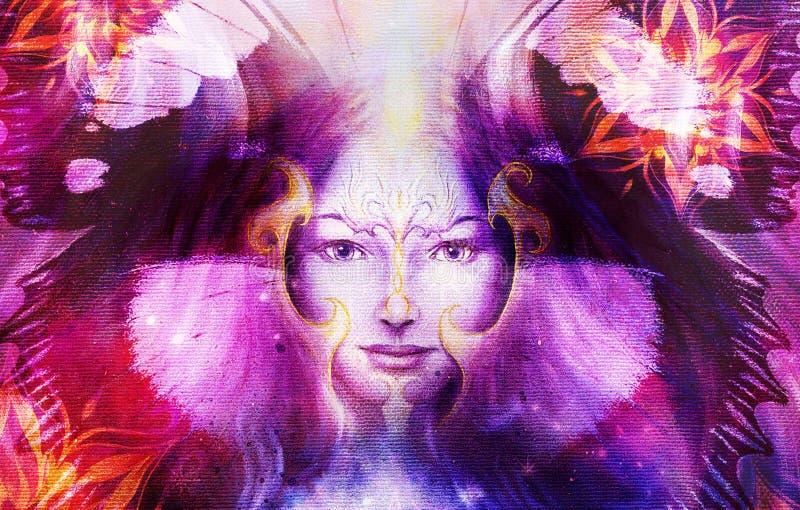 Όμορφη χρωματίζοντας γυναίκα θεών με το πουλί Φοίνικας απεικόνιση αποθεμάτων