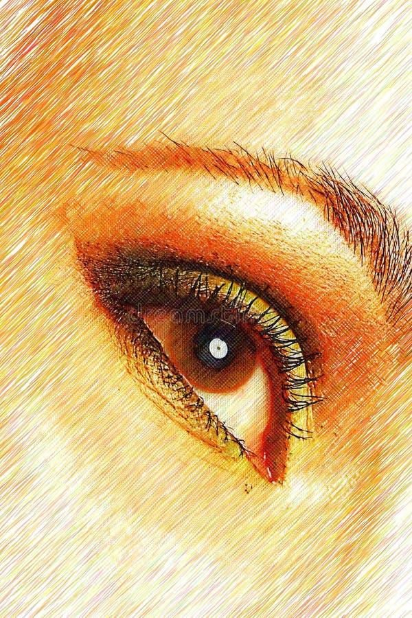 όμορφη χρωματισμένη θηλυκή & στοκ εικόνα