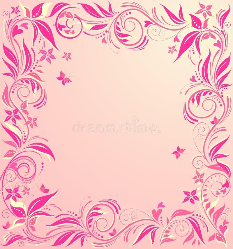 Όμορφη floral ροζ κάρτα για τις γαμήλιες προσκλήσεις διανυσματική απεικόνιση
