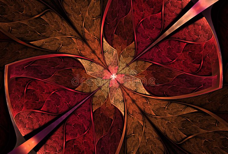 Όμορφη floral σχέδιο, λουλούδι ή πεταλούδα στο λεκιασμένο ύφος παραθύρων γυαλιού διανυσματική απεικόνιση