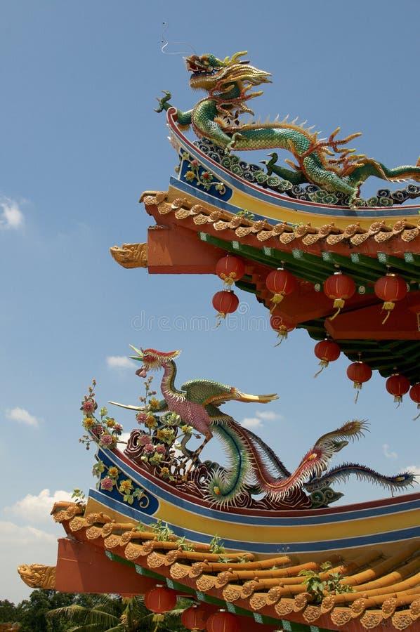 Όμορφοι δράκος και διακόσμηση του Phoenix στο ναό Thean Hou στοκ εικόνες