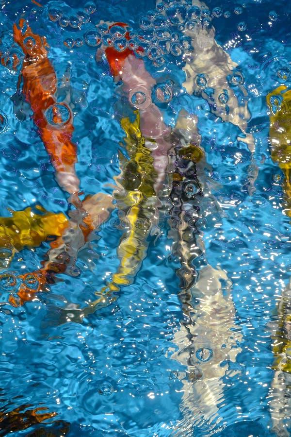 Όμορφοι και ζωηρόχρωμοι φανταχτεροί κυπρίνοι ψαριών στην πλαστική λίμνη στοκ εικόνες με δικαίωμα ελεύθερης χρήσης