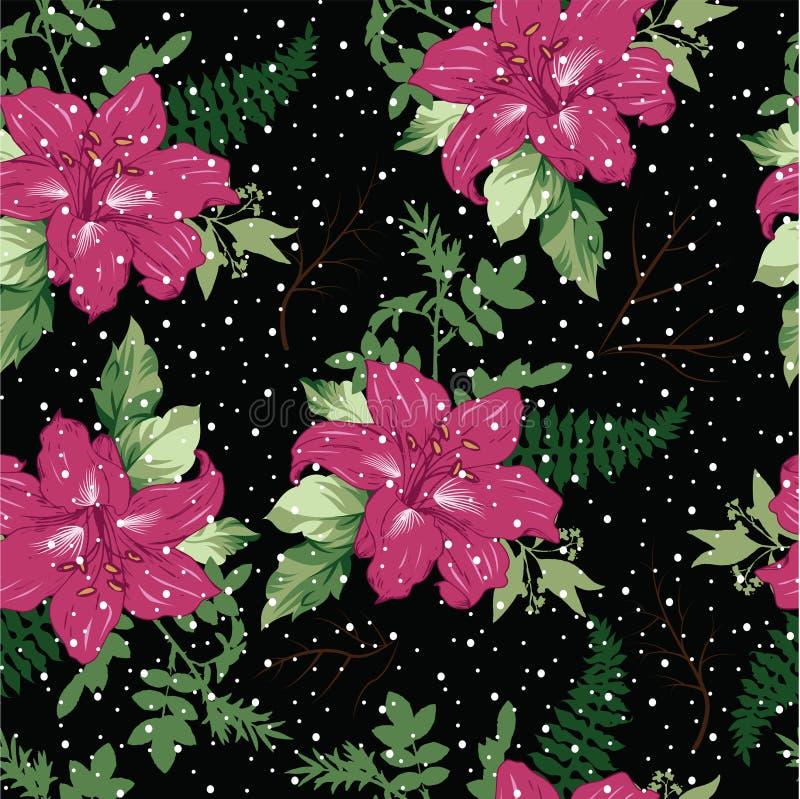 όμορφοι κλάδοι λουλουδιών με το διανυσματικό άνευ ραφής σχέδιο φύλλων ελεύθερη απεικόνιση δικαιώματος
