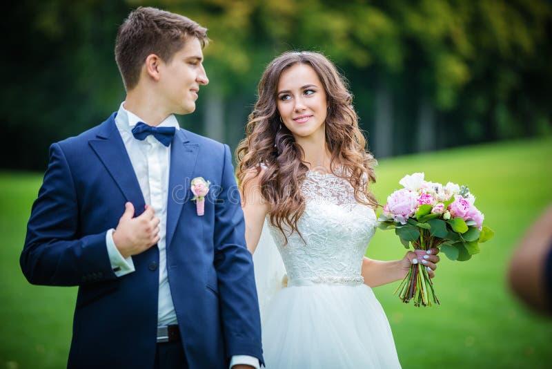 Όμορφοι νέοι νύφη και νεόνυμφος στο πάρκο στοκ φωτογραφία με δικαίωμα ελεύθερης χρήσης