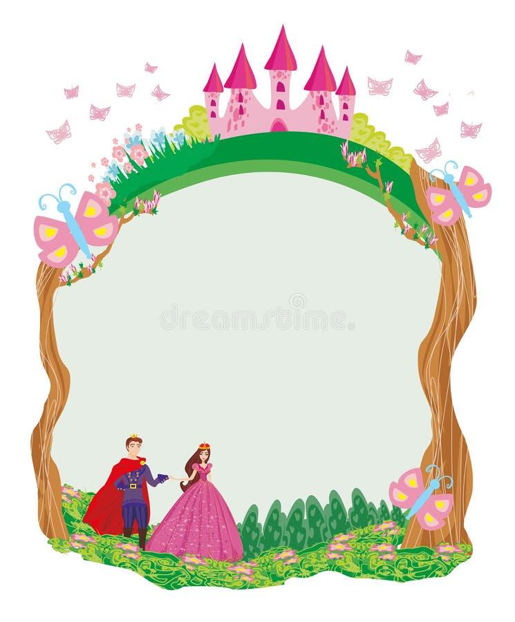 Όμορφοι πρίγκηπας και πριγκήπισσα στον κήπο - πλαίσιο διανυσματική απεικόνιση