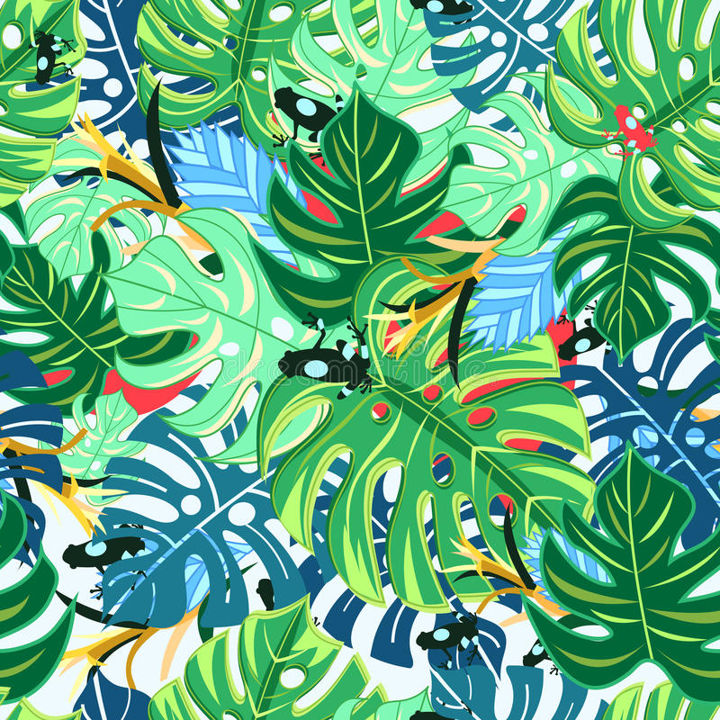 Όμορφοι monstera και βάτραχοι φύλλων σχεδίων απεικόνιση αποθεμάτων