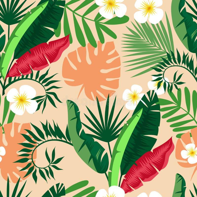 όμορφος άνευ ραφής ανασκό&pi φυτά τροπικά απεικόνιση αποθεμάτων