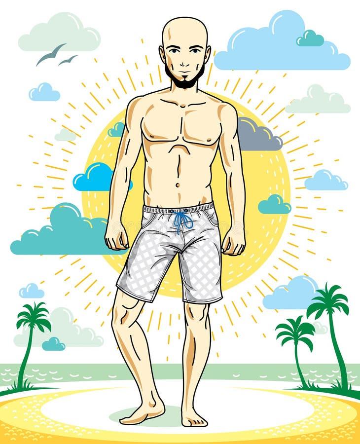 Όμορφος άτριχος νεαρός άνδρας με τη γενειάδα που στέκεται στην τροπική παραλία στα φωτεινά σορτς Διανυσματική αθλητική αρσενική α απεικόνιση αποθεμάτων