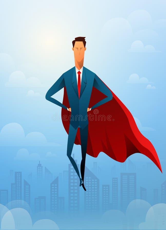 Όμορφος έξοχος ηγέτης επιχειρηματιών που πετά μπροστά από την αστική πόλη και το φως του ήλιου ελεύθερη απεικόνιση δικαιώματος