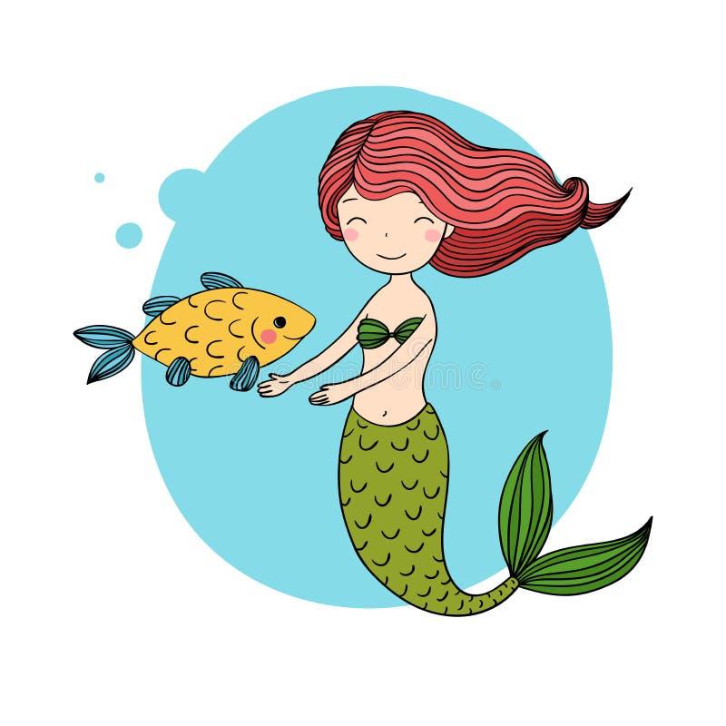 Όμορφος λίγη γοργόνα και ψάρια σειρήνα διανυσματική απεικόνιση