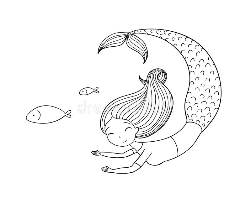 Όμορφος λίγη γοργόνα και ψάρια σειρήνα ελεύθερη απεικόνιση δικαιώματος