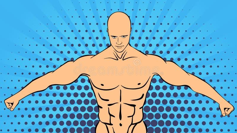 Όμορφος αθλητής μυών Bodybuilder απεικόνιση αποθεμάτων