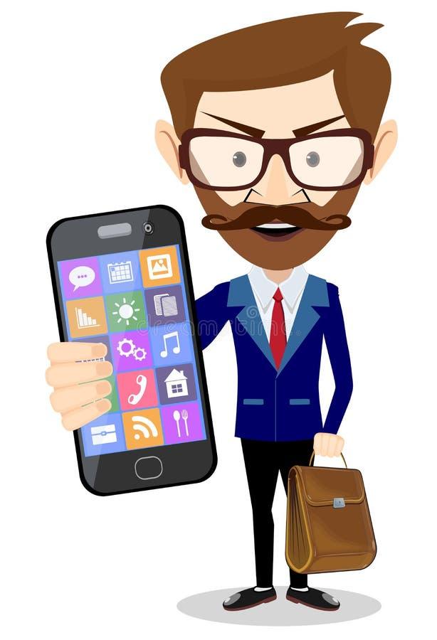 Όμορφος γενειοφόρος επιχειρηματίας στο επίσημο κοστούμι που παρουσιάζει έξυπνο τηλέφωνο απεικόνιση αποθεμάτων