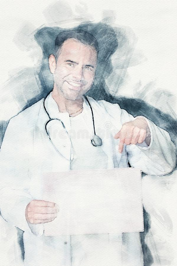 Όμορφος γιατρός που κρατά ένα κενό σημάδι και τα χαμόγελα απεικόνιση αποθεμάτων