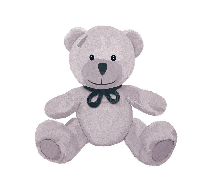 Όμορφος γκρίζος teddy αντέχει με ένα τόξο και ένα μπάλωμα απεικόνιση αποθεμάτων