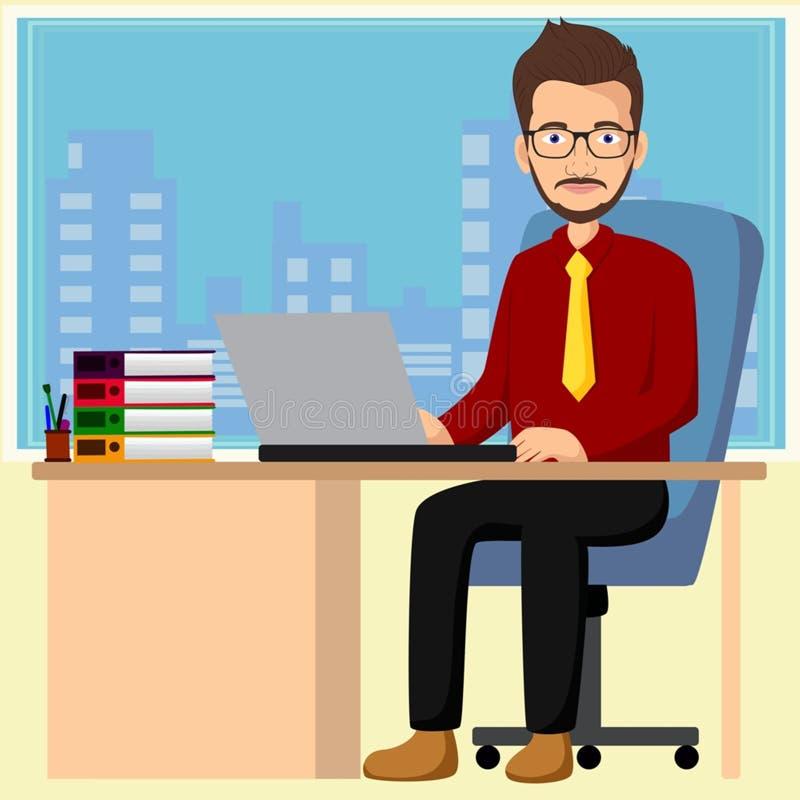 """Όμορφος διευθυντής που εργάζεται με Ï""""Î¿ φορητό υπολογιστή στο γραφείο απεικόνιση αποθεμάτων"""