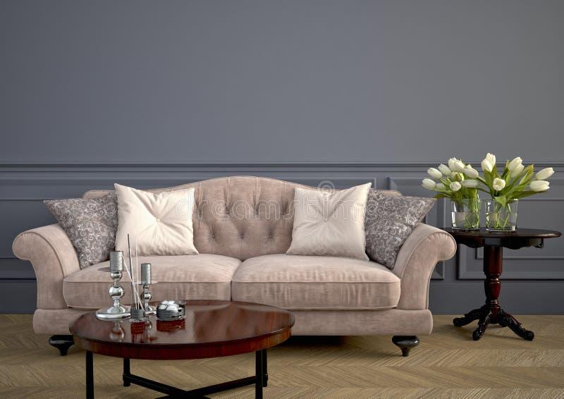 Όμορφος εκλεκτής ποιότητας καναπές τρισδιάστατη απόδοση απεικόνιση αποθεμάτων