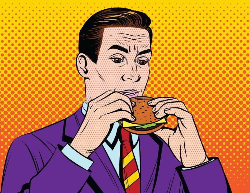 Όμορφος ενήλικος τύπος στο κοστούμι που έχει το μεσημεριανό διάλειμμα με το άχρηστο φαγητό διανυσματική απεικόνιση