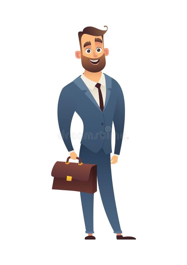 Όμορφος επιχειρηματίας κινούμενων σχεδίων στο κομψό κοστούμι με τους επιχειρηματίες χαρτοφυλάκων δέρματος και τον εργαζόμενο γραφ διανυσματική απεικόνιση