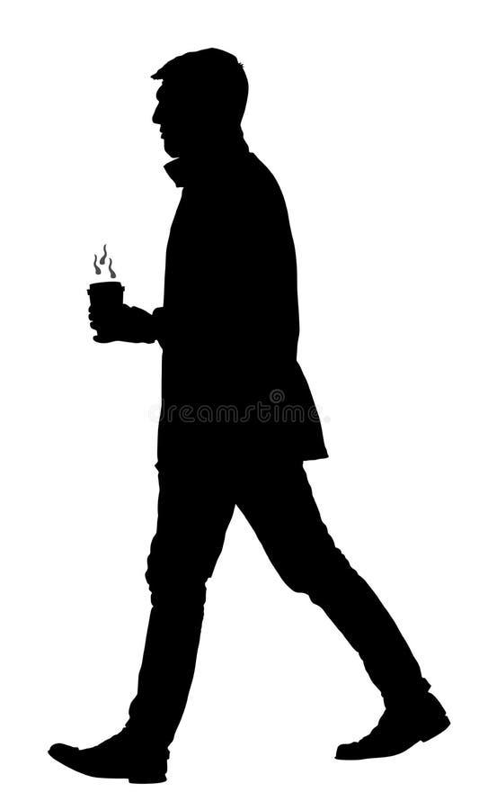 Όμορφος επιχειρηματίας με τον καφέ που πηγαίνει να απασχοληθεί στη σκιαγραφία απεικόνιση αποθεμάτων