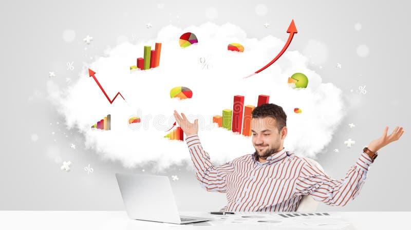 Όμορφος επιχειρηματίας με το σύννεφο στο υπόβαθρο που περιέχει το συνταγματάρχη απεικόνιση αποθεμάτων