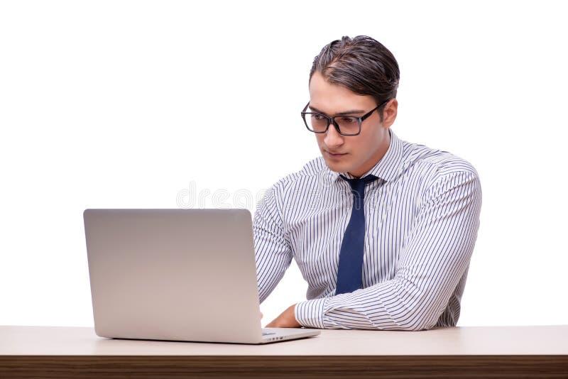 Όμορφος επιχειρηματίας που εργάζεται με το φορητό προσωπικό υπολογιστή που απομονώνεται στο wh στοκ εικόνες με δικαίωμα ελεύθερης χρήσης