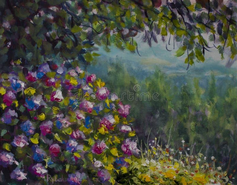 Όμορφος θάμνος των πολύβλαστων ζωηρόχρωμων λουλουδιών Πράσινα δάσος και βουνά Τέχνη ελαιογραφίας διανυσματική απεικόνιση