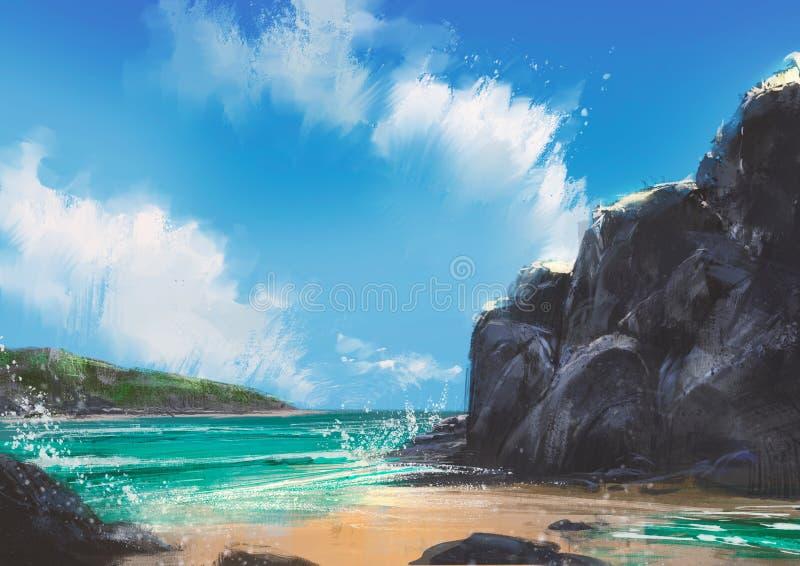 Όμορφος θερινός φυσικός υπαίθριος παραλιών, ζωγραφική στοκ φωτογραφία
