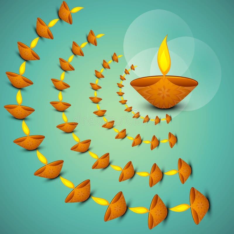 Όμορφος θρησκευτικός για το diya Diwali διανυσματική απεικόνιση