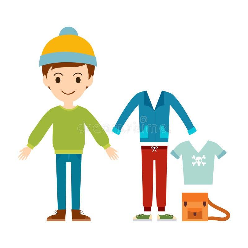 Όμορφος διανυσματικός κατασκευαστής υφασμάτων αγοριών μόδας κινούμενων σχεδίων απεικόνιση αποθεμάτων