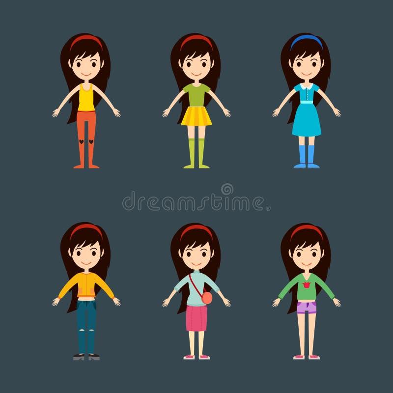 Όμορφος διανυσματικός κατασκευαστής υφασμάτων κοριτσιών μόδας κινούμενων σχεδίων απεικόνιση αποθεμάτων