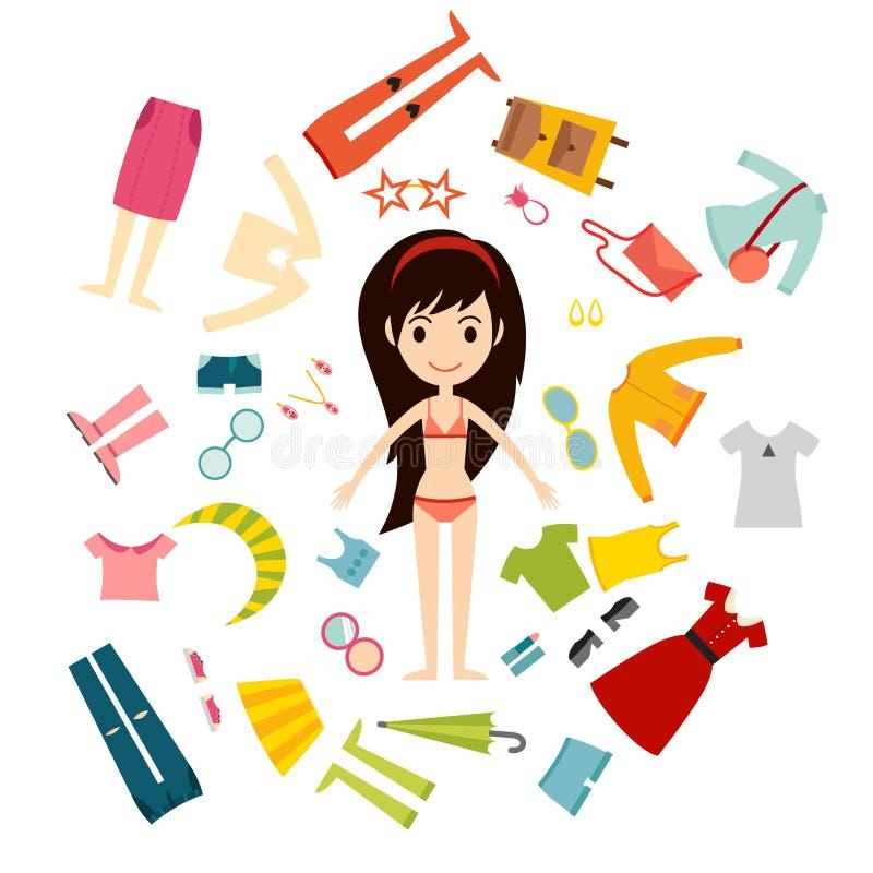 Όμορφος διανυσματικός κατασκευαστής υφασμάτων κοριτσιών μόδας κινούμενων σχεδίων ελεύθερη απεικόνιση δικαιώματος