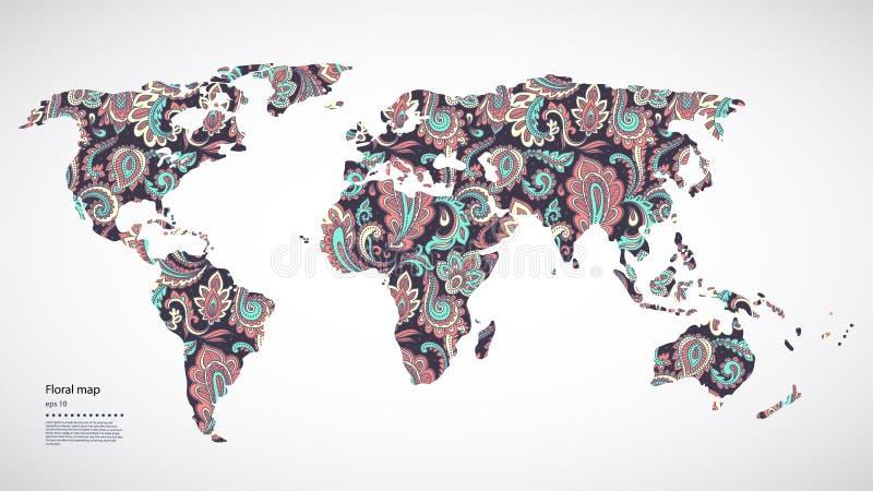 Όμορφος διανυσματικός Floral παγκόσμιος χάρτης απεικόνιση αποθεμάτων