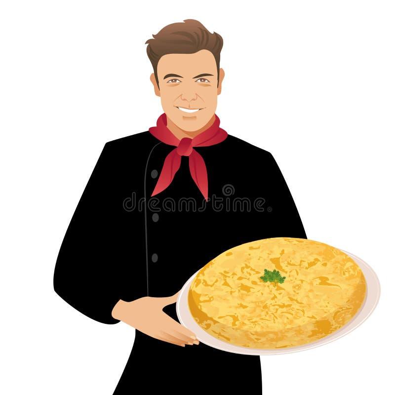 Όμορφος ισπανικός αρχιμάγειρας που κρατά ένα πιάτο της χαρακτηριστικής ισπανικής ομελέτας πατατών ελεύθερη απεικόνιση δικαιώματος