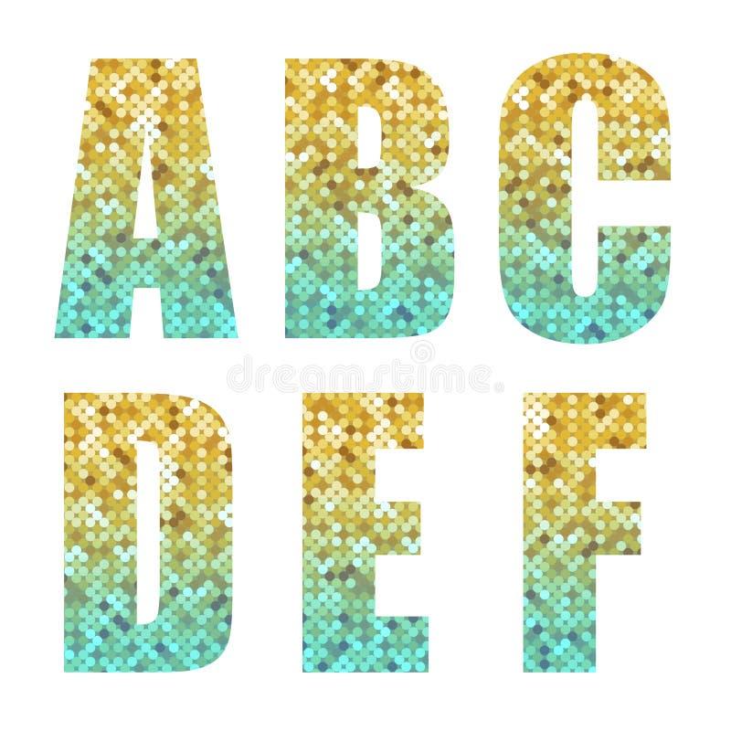 Όμορφος καθιερώνων τη μόδα ακτινοβολεί επιστολές αλφάβητου με το ασήμι στο χρυσό ombre απεικόνιση αποθεμάτων