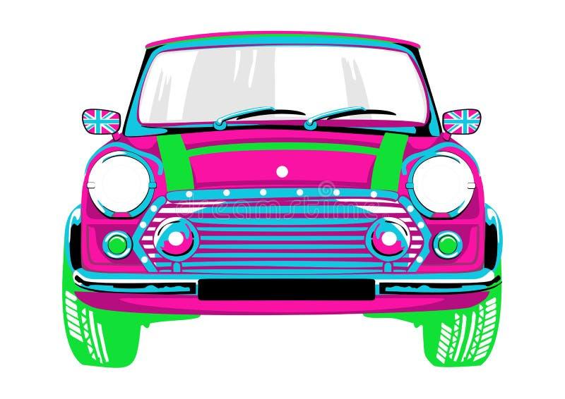 Όμορφος και ένα ρόδινο αυτοκίνητο διανυσματική απεικόνιση