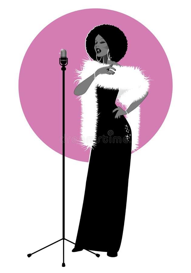 Όμορφος και κομψός τραγουδιστής τζαζ που απομονώνεται στο άσπρο και ρόδινο υπόβαθρο διανυσματική απεικόνιση