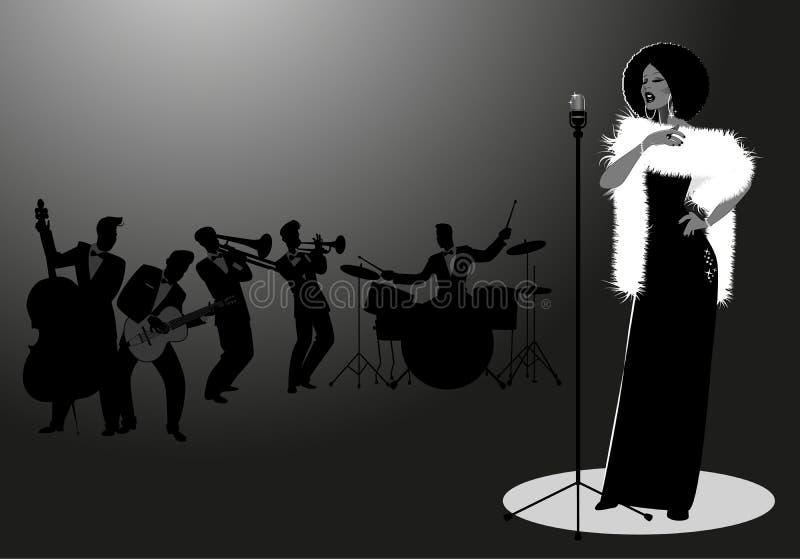 Όμορφος και κομψός τραγουδιστής τζαζ που τραγουδά σόλο Αρσενική ορχήστρα στο υπόβαθρο αναδρομικό ύφος διανυσματική απεικόνιση