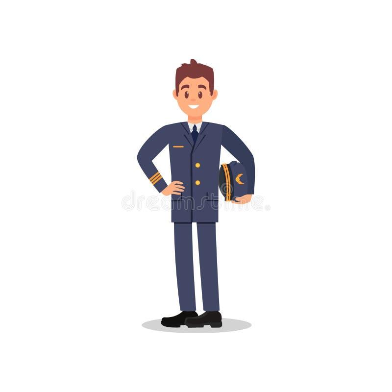 Όμορφος καπετάνιος του καπέλου εκμετάλλευσης αεροπλάνων υπό εξέταση Νέος πειραματικός με το ευτυχές πρόσωπο Εργαζόμενος της πολιτ ελεύθερη απεικόνιση δικαιώματος