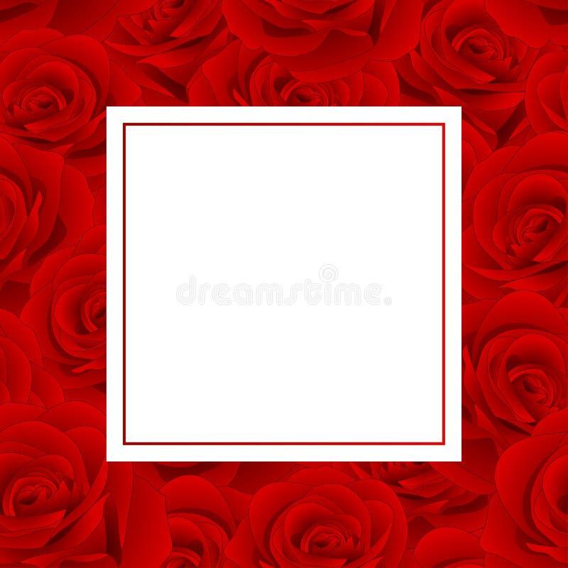 Όμορφος κόκκινος αυξήθηκε - κάρτα εμβλημάτων της Rosa διάνυσμα βαλεντίνων αγάπης απεικόνισης ημέρας ζευγών επίσης corel σύρετε το ελεύθερη απεικόνιση δικαιώματος