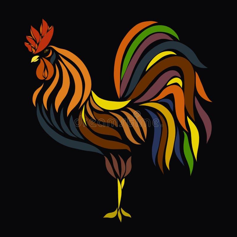 Όμορφος κόκκορας, διαμορφωμένο χρωματισμένο καιρικό vane απεικόνιση αποθεμάτων