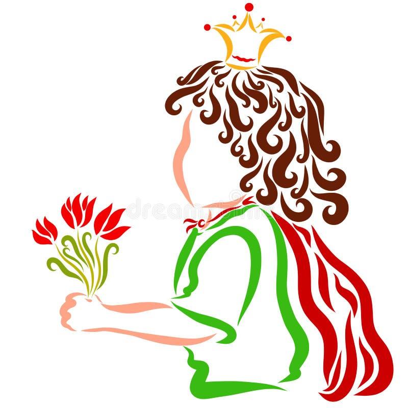 Όμορφος λίγος σγουρός πρίγκηπας με μια ανθοδέσμη των λουλουδιών ελεύθερη απεικόνιση δικαιώματος