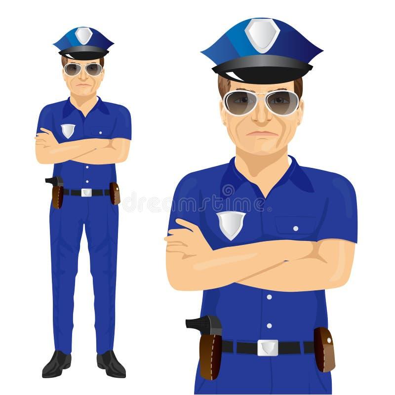 Όμορφος μέσης ηλικίας αστυνομικός με τα όπλα που διπλώνονται απεικόνιση αποθεμάτων