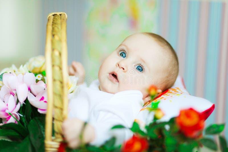 όμορφος μήνας κοριτσιών 5 μωρών παλαιός στοκ φωτογραφία με δικαίωμα ελεύθερης χρήσης