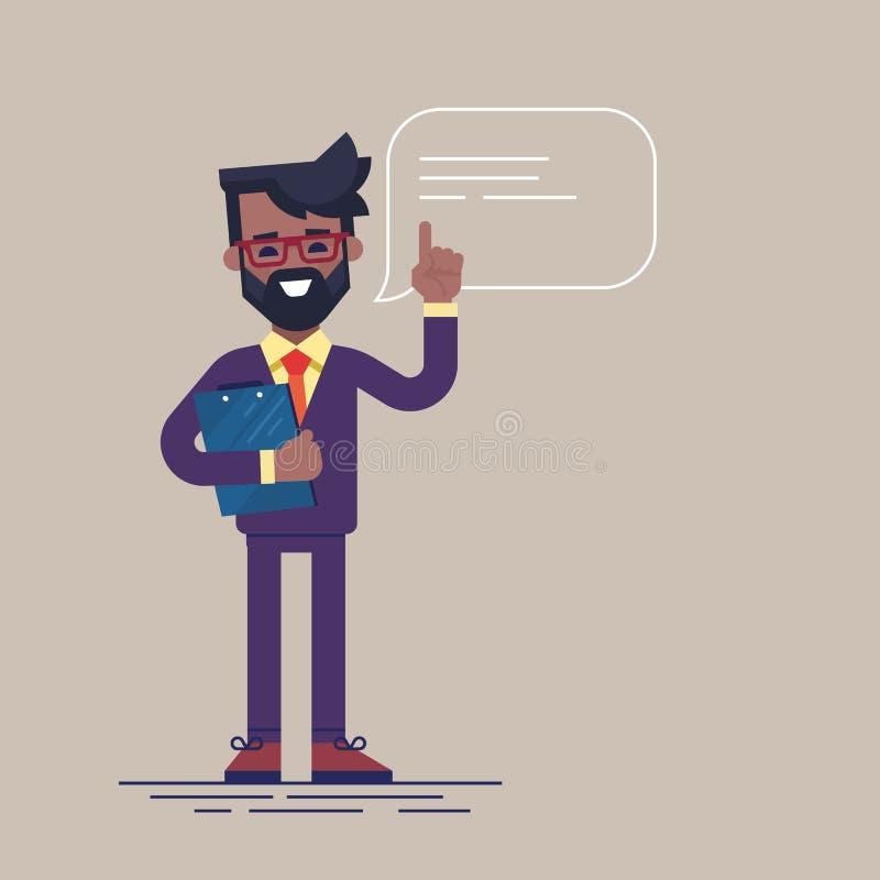 Όμορφος μαύρος επιχειρηματίας με τη γενειάδα και γυαλιά που αυξάνουν επάνω στο δάχτυλό του για να δώσει τις συμβουλές ή τη σύστασ απεικόνιση αποθεμάτων