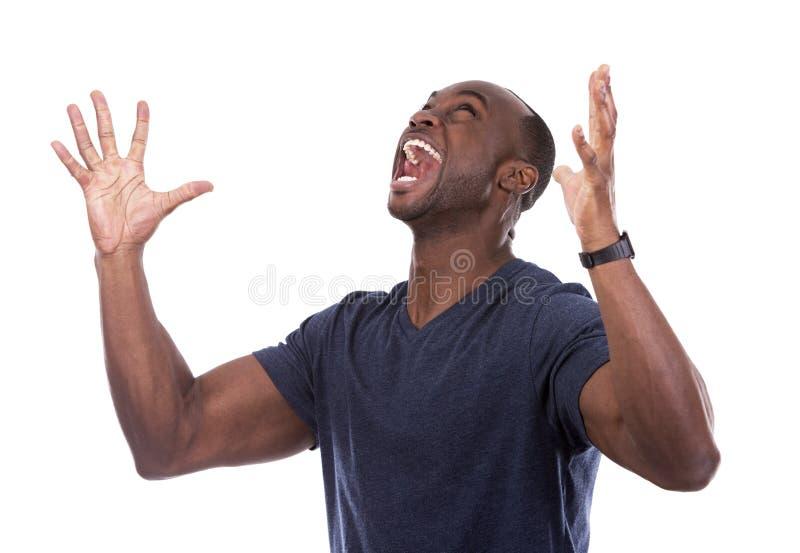 Όμορφος μαύρος που κραυγάζει με τον ενθουσιασμό στοκ φωτογραφίες με δικαίωμα ελεύθερης χρήσης