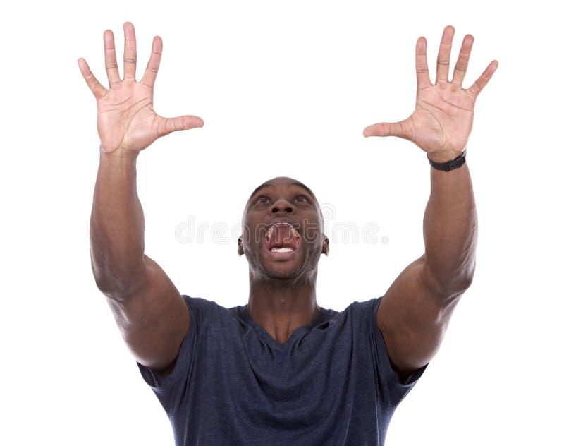 Όμορφος μαύρος που κραυγάζει με τον ενθουσιασμό στοκ φωτογραφίες