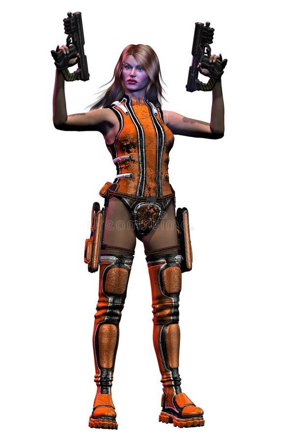 Όμορφος μελλοντικός στρατιώτης γυναικών που οπλίζεται με τα πυροβόλα όπλα ελεύθερη απεικόνιση δικαιώματος