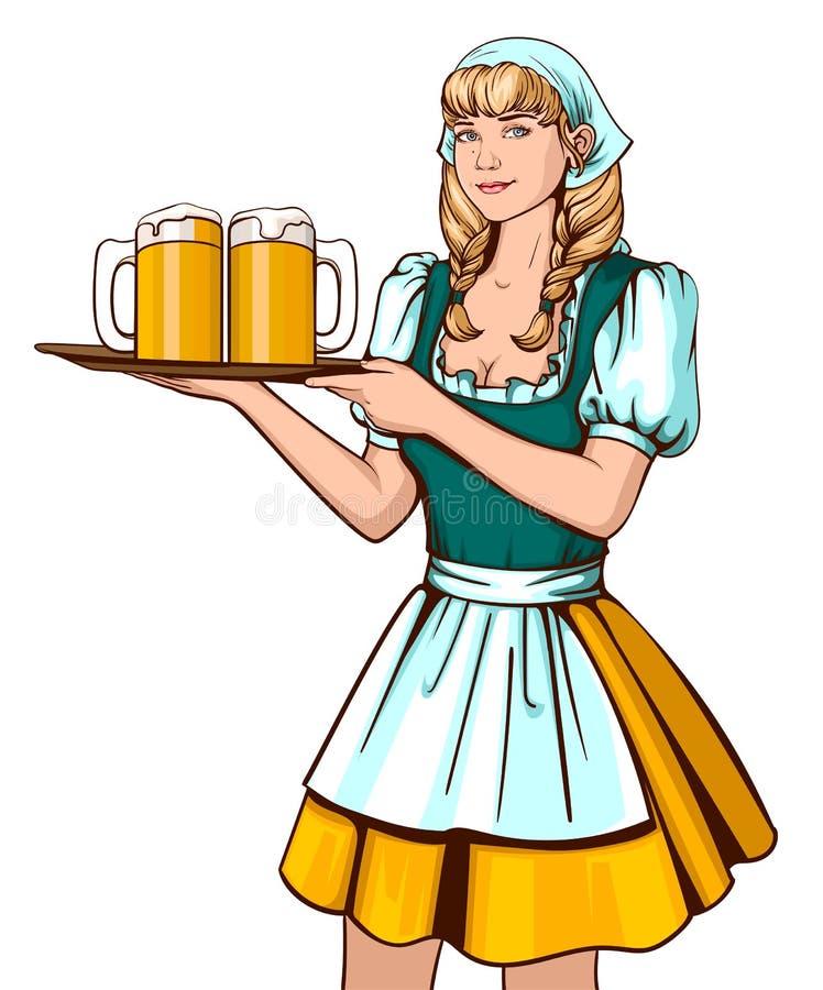 Όμορφος νέος δίσκος εκμετάλλευσης σερβιτόρων γυναικών με την μπύρα Γερμανικό φεστιβάλ μπύρας Oktoberfest διανυσματική απεικόνιση