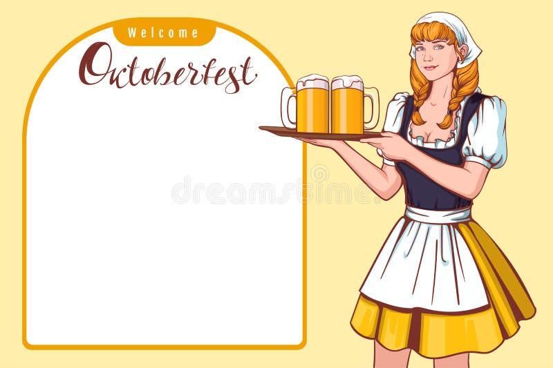 Όμορφος νέος δίσκος εκμετάλλευσης σερβιτόρων γυναικών με την μπύρα Ευπρόσδεκτο φεστιβάλ μπύρας Oktoberfest γερμανικό διανυσματική απεικόνιση